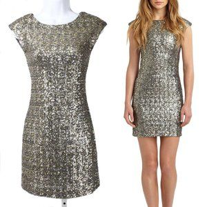 RED SAKS 5th AVE Silver & Gold Sequin Mini Dress